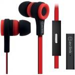 AV:link gumová sluchátka s handsfree červeno-černá