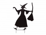 Europalms kovová silueta čarodejnice s koštětem, černá, 140cm