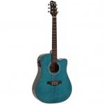 Dimavery STW-90 elektroakustická kytara typu Dreadnought modrá