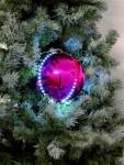Sněhové LED koule 8 cm růžová 5 ks